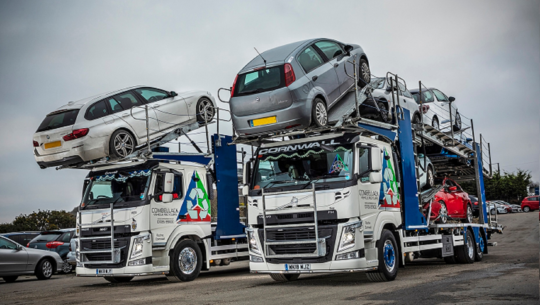 Combellack Vehicle Recyclers has put two new 26-tonne Volvo FM-420 chassis into service - the first in the UK to be fitted with fully-galvanised, Belle eight-car salvage bodywork.