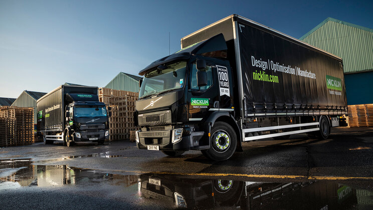 Five new Volvo FEs are fresh out of the box at Nicklin Transit Packaging