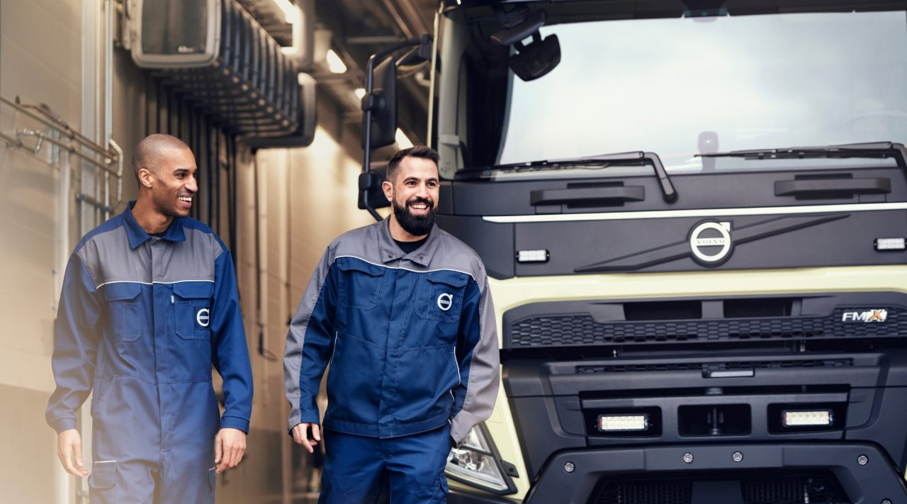A Volvo truck at service